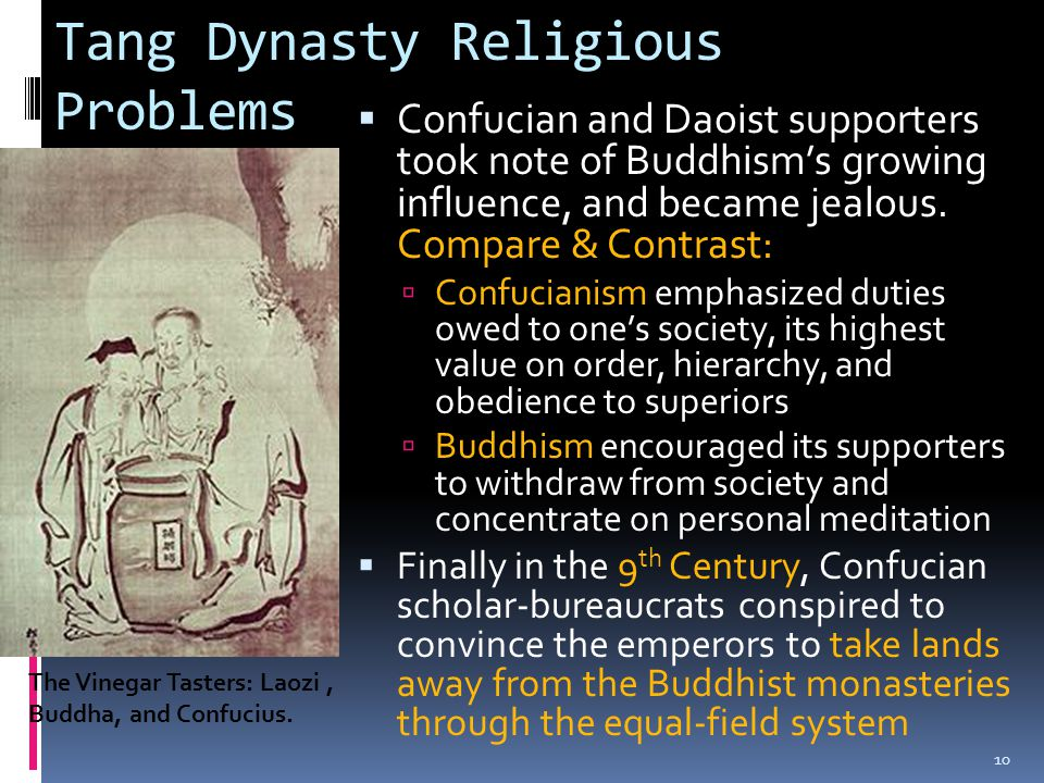 Tang Dynasty Religious Problems  Confucian and Daoist supporters took note of Buddhism's growing influence, and became jealous. Compare & Contrast: 
