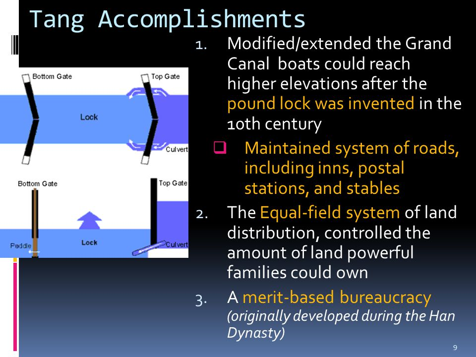 Tang Accomplishments 1. Modified/extended the Grand Canal boats could reach higher elevations after the pound lock was invented in the 10th century 