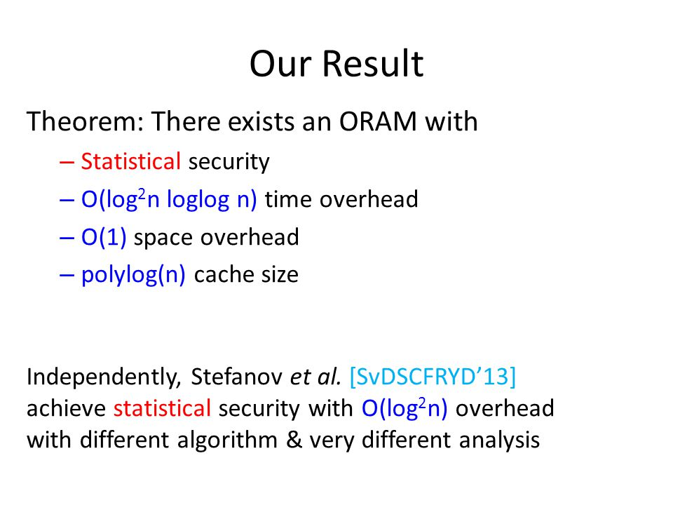 Our Result Theorem: There exists an ORAM with – Statistical security – O(log 2 n loglog n) time overhead – O(1) space overhead – polylog(n) cache size Independently, Stefanov et al.