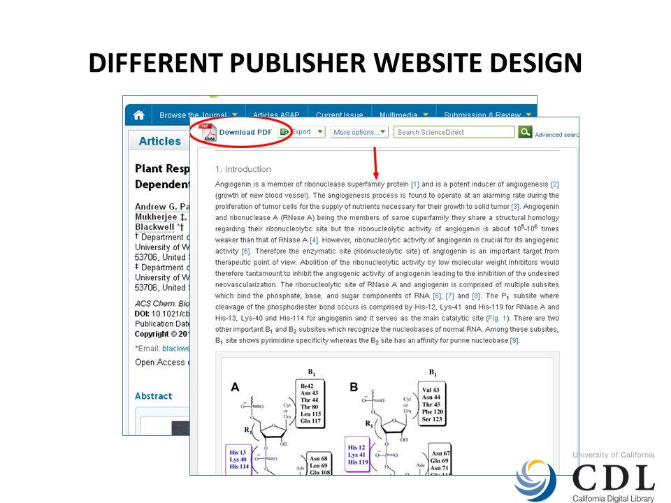 DIFFERENT PUBLISHER WEBSITE DESIGN