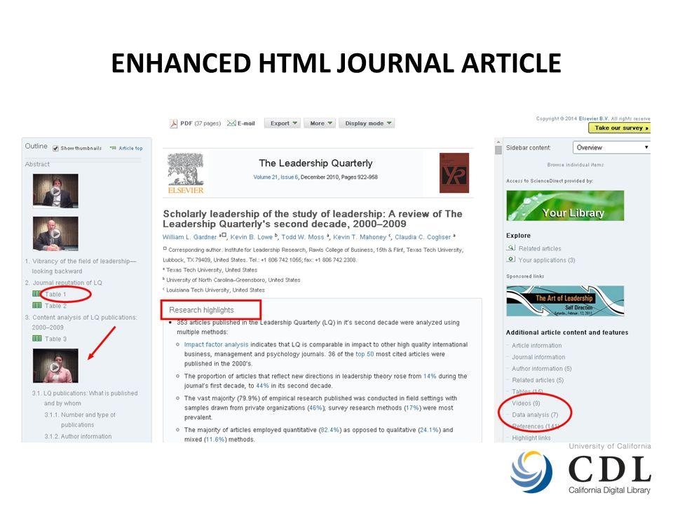 ENHANCED HTML JOURNAL ARTICLE