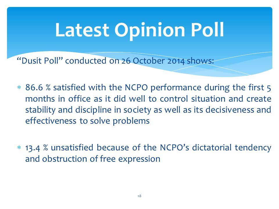 Dusit Poll conducted on 26 October 2014 shows:  86.6 % satisfied with the NCPO performance during the first 5 months in office as it did well to control situation and create stability and discipline in society as well as its decisiveness and effectiveness to solve problems  13.4 % unsatisfied because of the NCPO's dictatorial tendency and obstruction of free expression Latest Opinion Poll 18