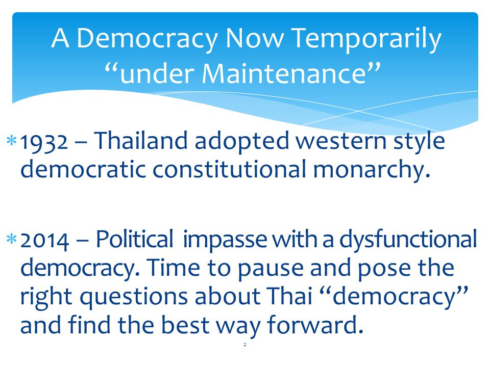  Transition period to implement a 3-phase Roadmap back to democracy: end of confrontations, reform and elections.