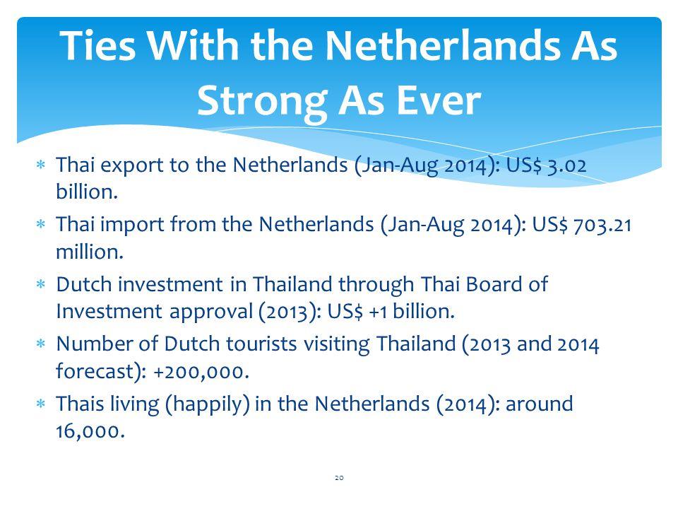  Thai export to the Netherlands (Jan-Aug 2014): US$ 3.02 billion.