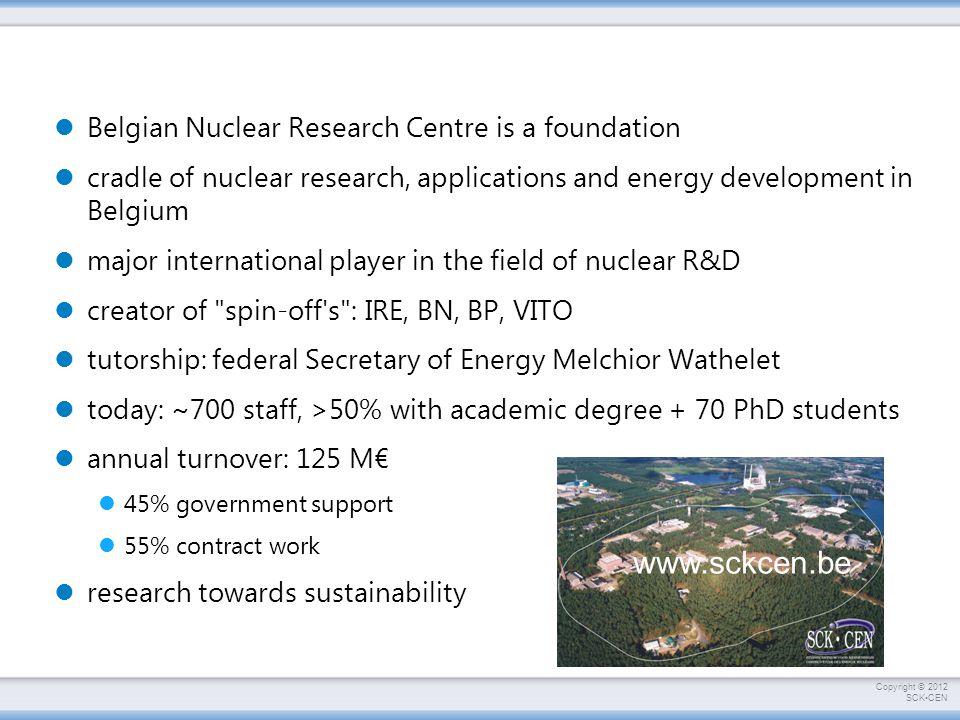 Copyright © 2012 SCKCEN EFIT:  Total = 0.32 600 MeV x 20 mA = 12 MW  acc = 0.35 P acc = ~34 MW e P th = 400 MW th  th = 0.40 P e = 160 MW e ΔP e = +126 MW e