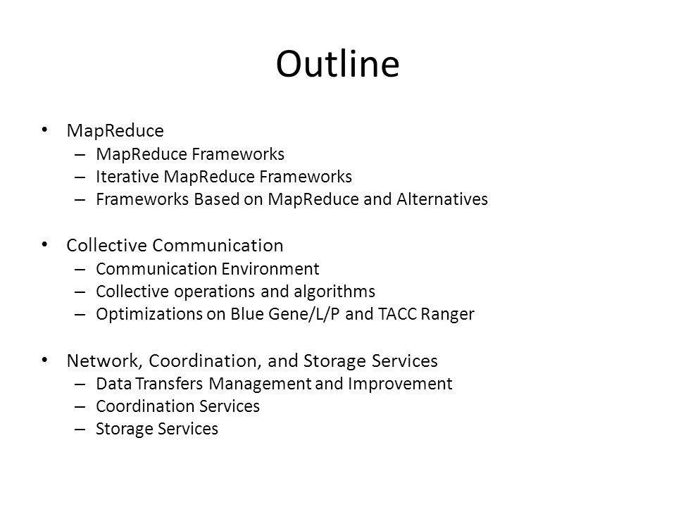Outline MapReduce – MapReduce Frameworks – Iterative MapReduce Frameworks – Frameworks Based on MapReduce and Alternatives Collective Communication –