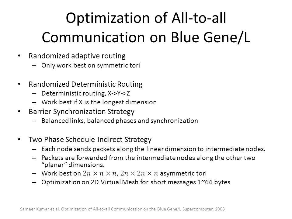 Optimization of All-to-all Communication on Blue Gene/L Sameer Kumar et al. Optimization of All-to-all Communication on the Blue Gene/L Supercomputer,