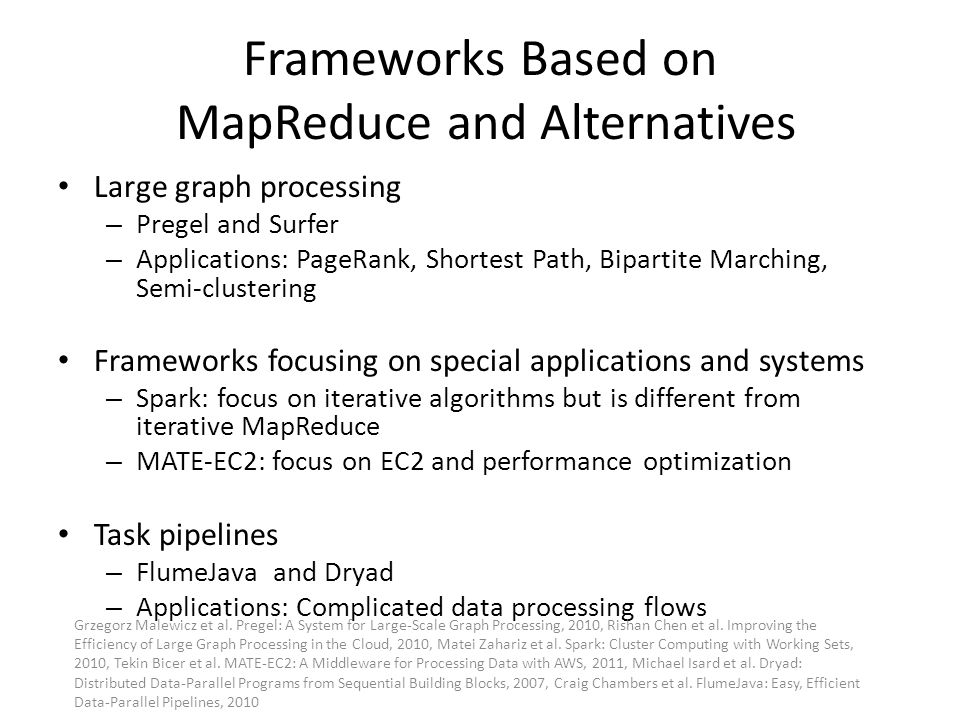Frameworks Based on MapReduce and Alternatives Large graph processing – Pregel and Surfer – Applications: PageRank, Shortest Path, Bipartite Marching,