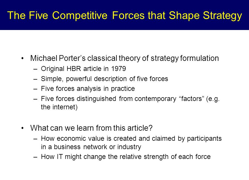 The Five Competitive Forces that Shape Strategy Michael Porter's classical theory of strategy formulation –Original HBR article in 1979 –Simple, powerful description of five forces –Five forces analysis in practice –Five forces distinguished from contemporary factors (e.g.