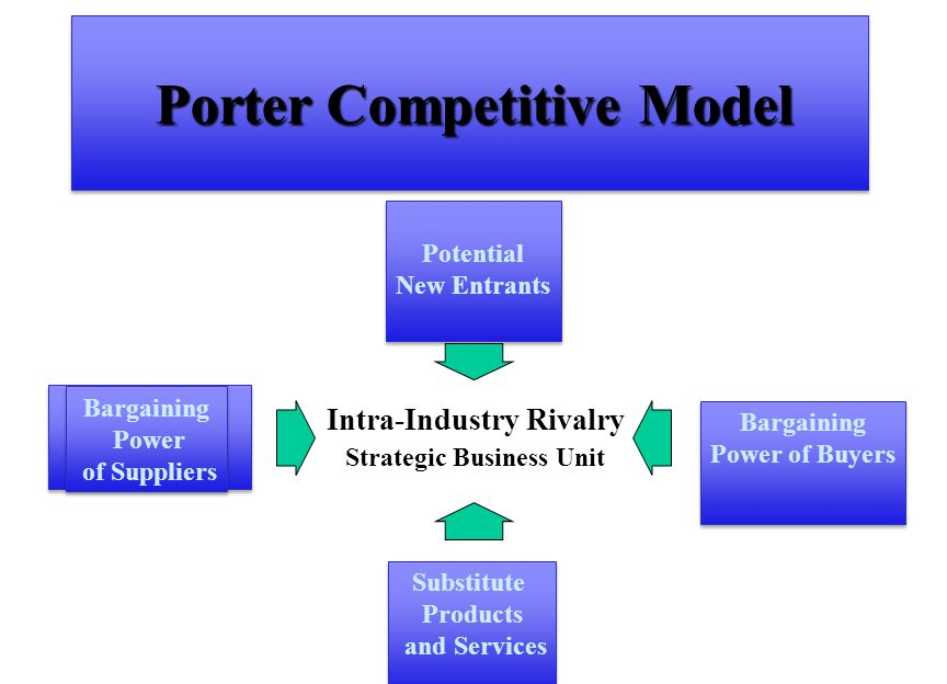 Porter Competitive Model Intra-Industry Rivalry Strategic Business Unit Bargaining Power of Buyers Bargaining Power of Buyers Bargaining Power of Suppliers Bargaining Power of Suppliers Substitute Products and Services Substitute Products and Services Potential New Entrants Potential New Entrants
