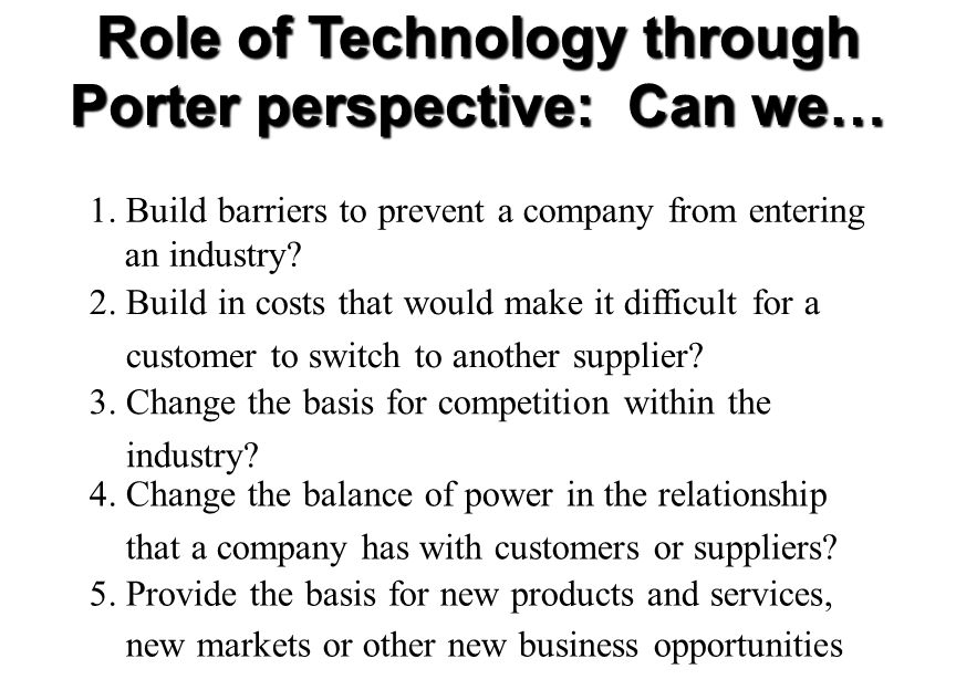 Role of Technology through Porter perspective: Can we… 1.