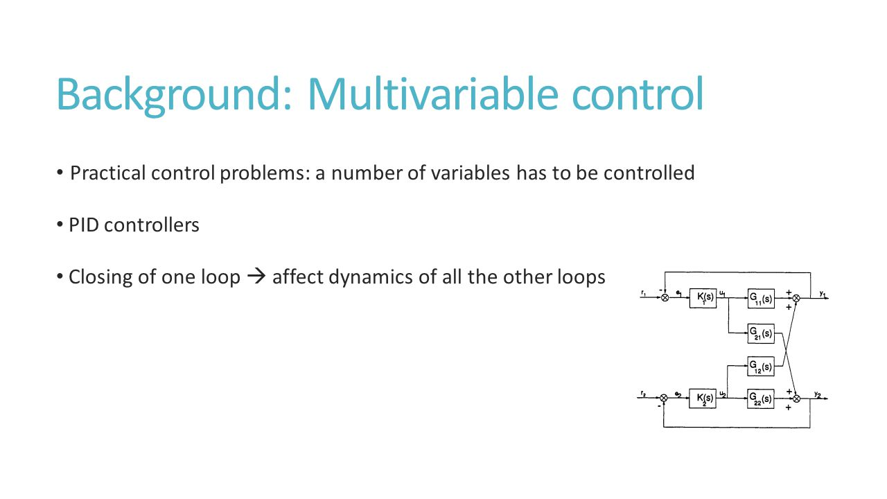 Background: Multivariable control Practical control problems: a number of variables has to be controlled PID controllers Closing of one loop  affect dynamics of all the other loops