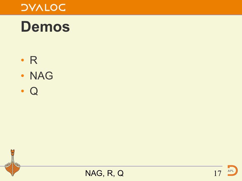 Demos R NAG Q NAG, R, Q17