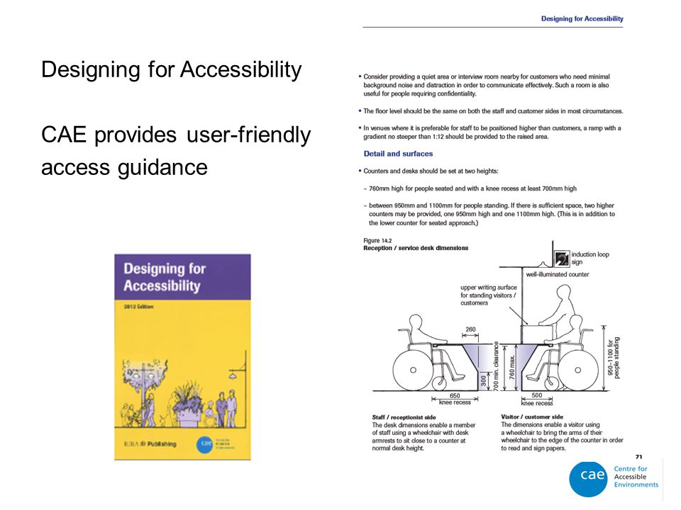 Designing for Accessibility CAE provides user-friendly access guidance