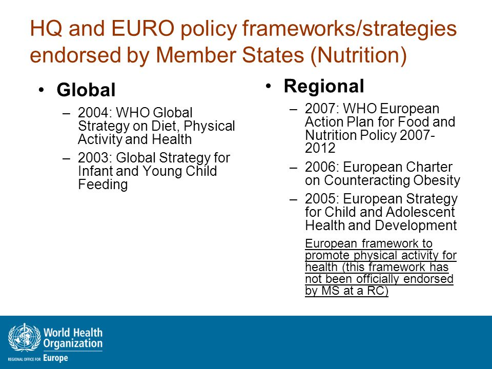 HQ and EURO policy frameworks/strategies endorsed by Member States (Nutrition) Global –2004: WHO Global Strategy on Diet, Physical Activity and Health –2003: Global Strategy for Infant and Young Child Feeding Regional –2007: WHO European Action Plan for Food and Nutrition Policy 2007- 2012 –2006: European Charter on Counteracting Obesity –2005: European Strategy for Child and Adolescent Health and Development European framework to promote physical activity for health (this framework has not been officially endorsed by MS at a RC)