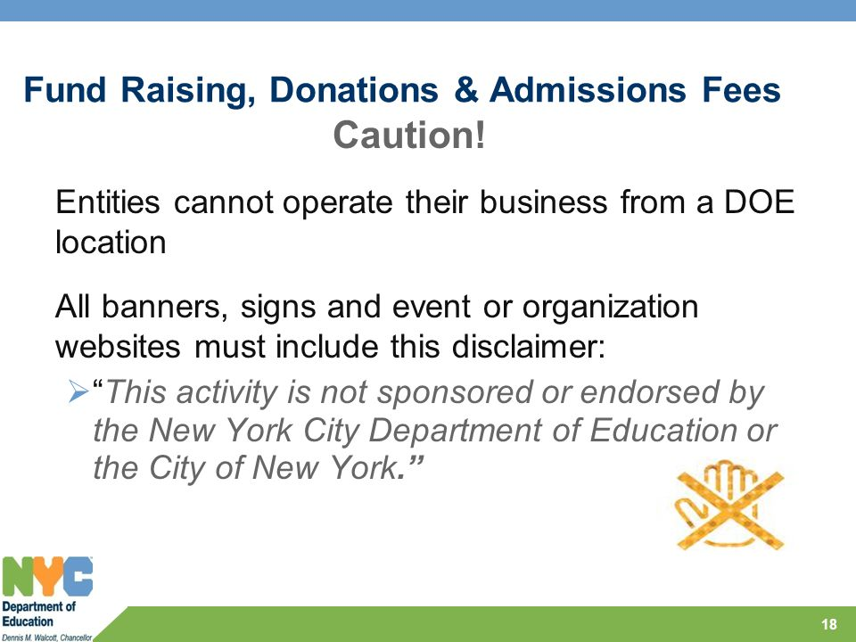Fund Raising, Donations & Admissions Fees Caution.