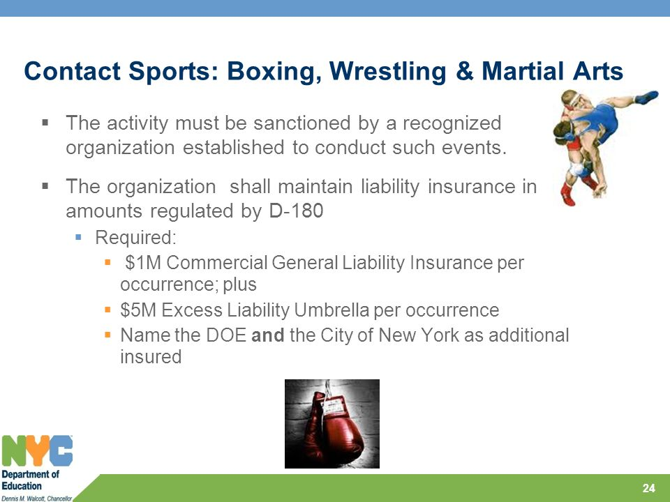 Contact Sports: Boxing, Wrestling & Martial Arts  The activity must be sanctioned by a recognized organization established to conduct such events. 