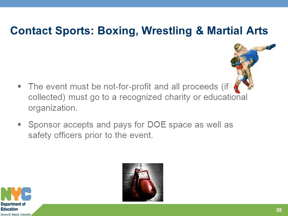 Contact Sports: Boxing, Wrestling & Martial Arts  The event must be not-for-profit and all proceeds (if collected) must go to a recognized charity or