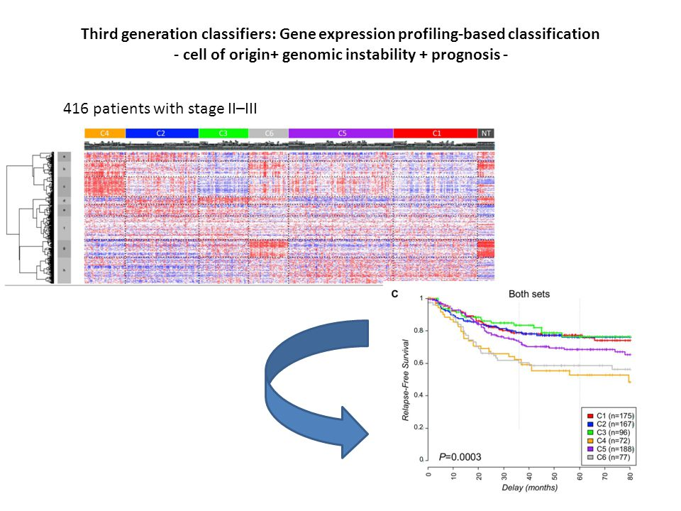 Third generation classifiers: Gene expression profiling-based classification - cell of origin+ genomic instability + prognosis - Marisa L, Plos Med 2013 416 patients with stage II–III