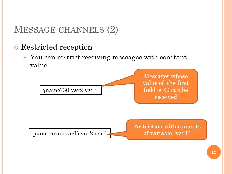 M ESSAGE CHANNELS (2) Restricted reception You can restrict receiving messages with constant value 12 qname?30,var2,var3 Messages whose value of the f