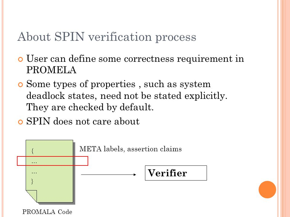 About SPIN verification process User can define some correctness requirement in PROMELA Some types of properties, such as system deadlock states, need