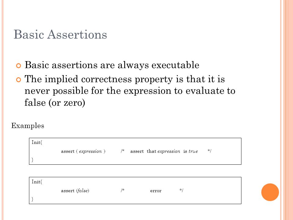 Basic Assertions Basic assertions are always executable The implied correctness property is that it is never possible for the expression to evaluate t