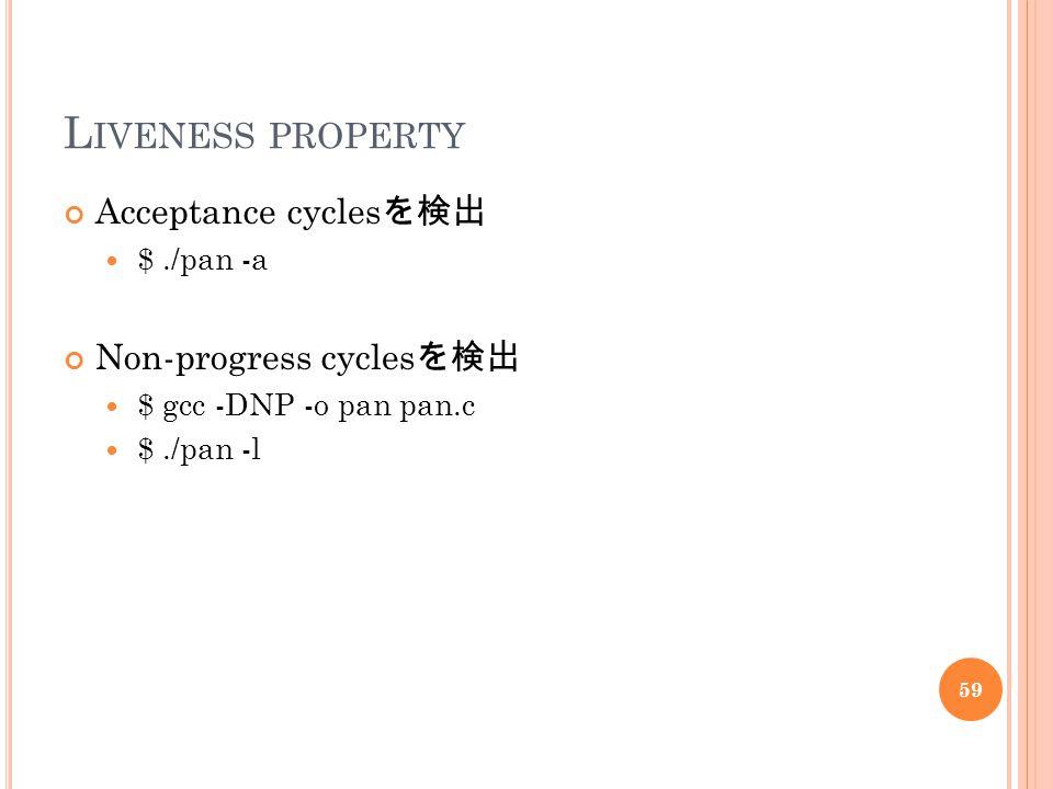 L IVENESS PROPERTY Acceptance cycles を検出 $./pan -a Non-progress cycles を検出 $ gcc -DNP -o pan pan.c $./pan -l 59