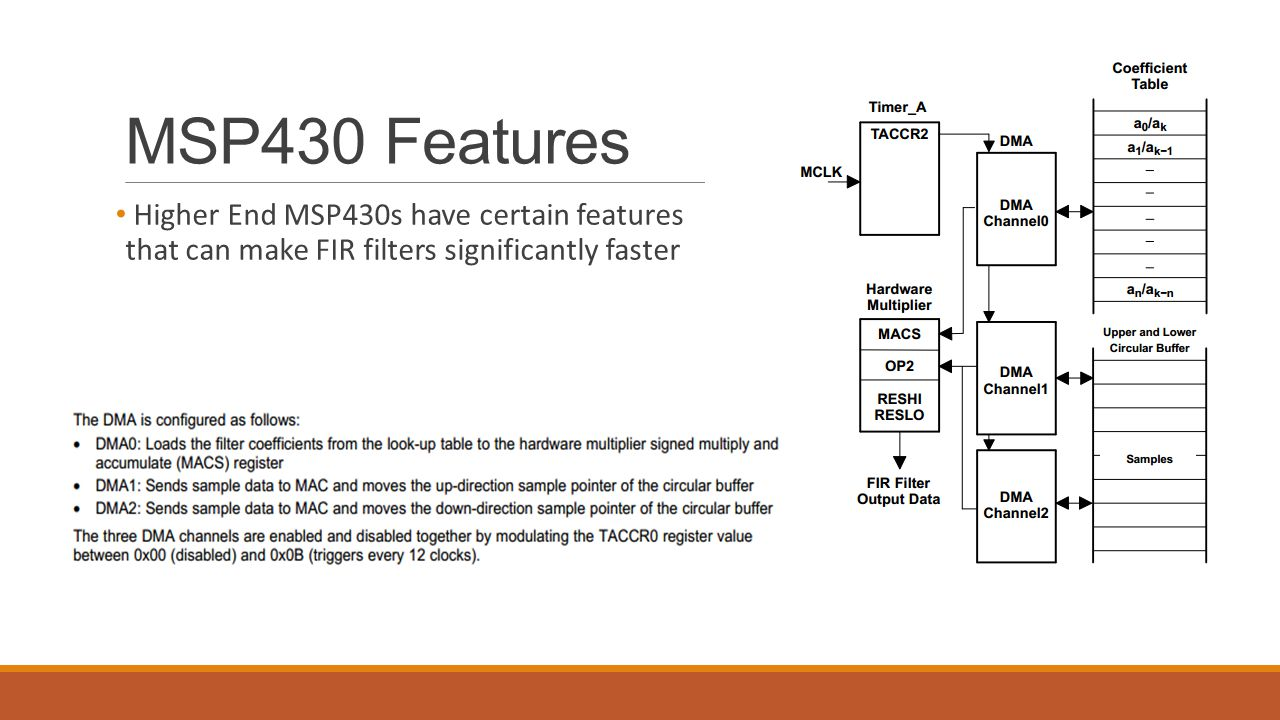 MSP430 Features Higher End MSP430s have certain features that can make FIR filters significantly faster