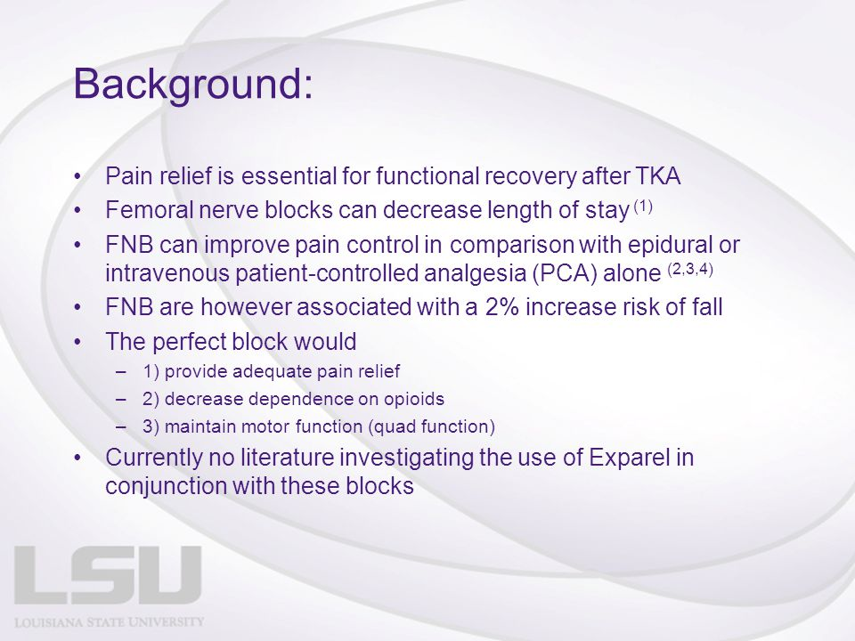 Purpose: Conduct a prospective case controlled study to investigate the effects of FNB versus ACB both in conjunction with Exparel versus Exparel alone: –Pain Relief –Gait distance –AROM –PROM –Length of hospital stay