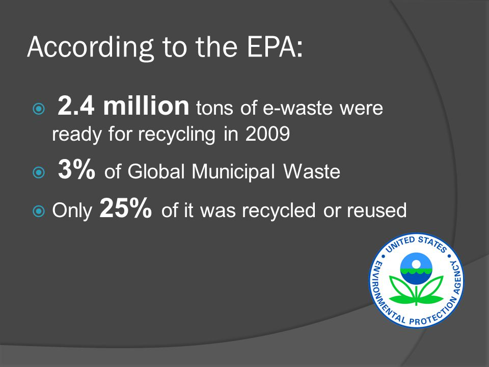 According to the EPA:  2.4 million tons of e-waste were ready for recycling in 2009  3% of Global Municipal Waste  Only 25% of it was recycled or reused