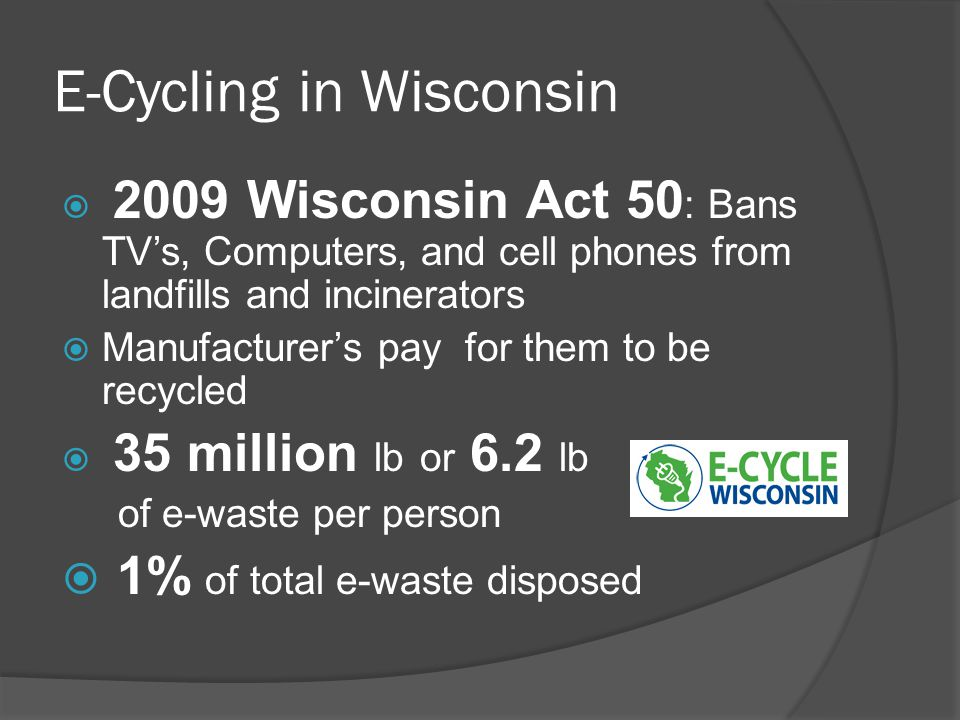 E-Cycling in Wisconsin  2009 Wisconsin Act 50 : Bans TV's, Computers, and cell phones from landfills and incinerators  Manufacturer's pay for them to be recycled  35 million lb or 6.2 lb of e-waste per person  1% of total e-waste disposed