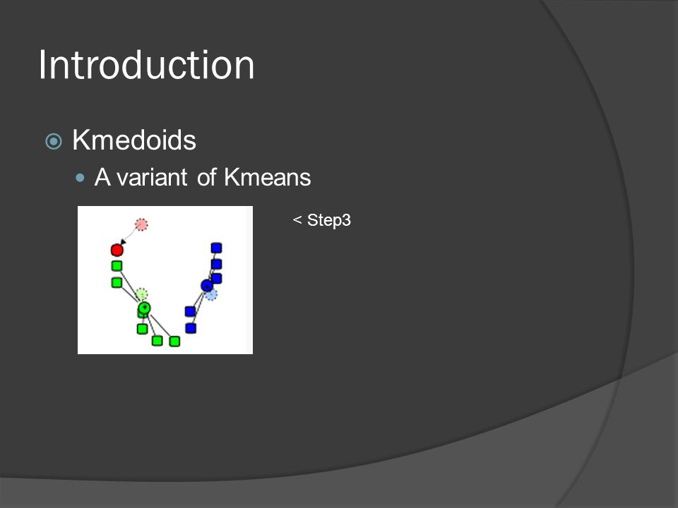 Introduction  Kmedoids A variant of Kmeans < Step3