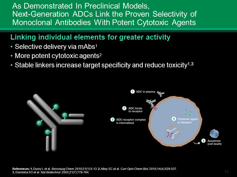 11 As Demonstrated In Preclinical Models, Next-Generation ADCs Link the Proven Selectivity of Monoclonal Antibodies With Potent Cytotoxic Agents Linki