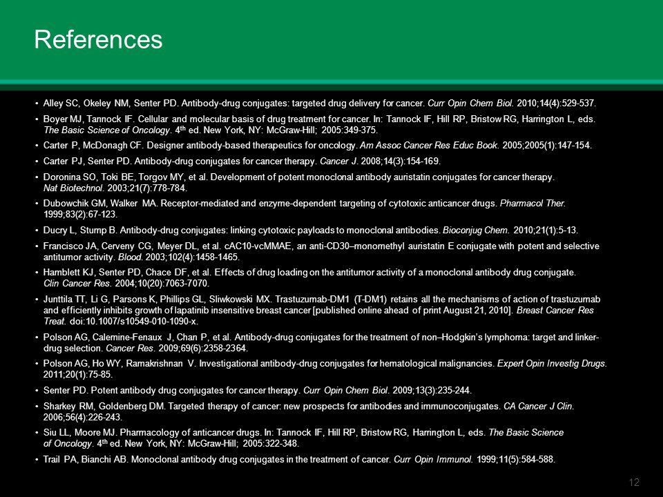 12 References Alley SC, Okeley NM, Senter PD. Antibody-drug conjugates: targeted drug delivery for cancer. Curr Opin Chem Biol. 2010;14(4):529-537. Bo
