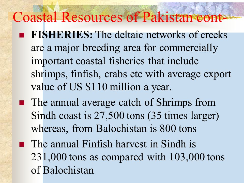 Coastal Resources of Pakistan cont- FISHERIES: The deltaic networks of creeks are a major breeding area for commercially important coastal fisheries that include shrimps, finfish, crabs etc with average export value of US $110 million a year.