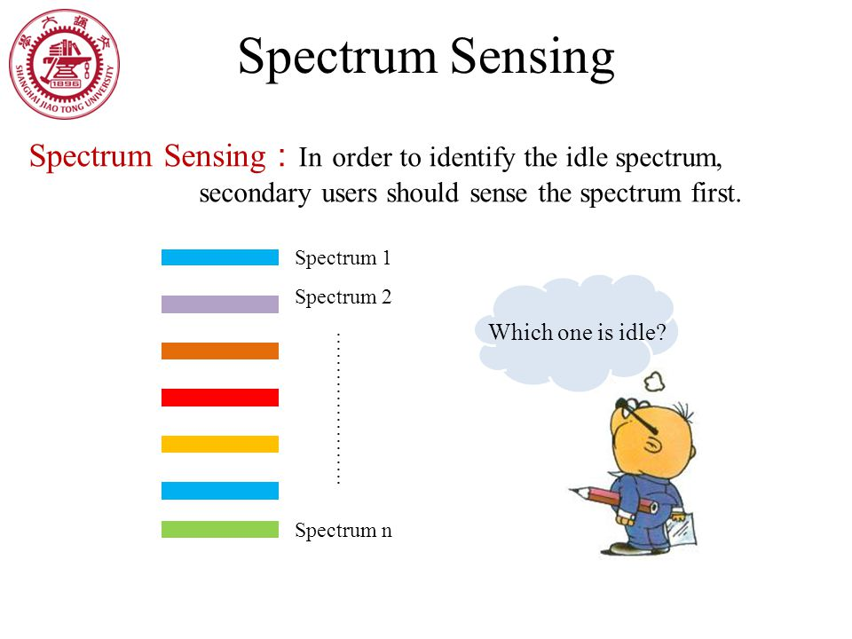 Spectrum Sensing Spectrum Sensing : In order to identify the idle spectrum, secondary users should sense the spectrum first.