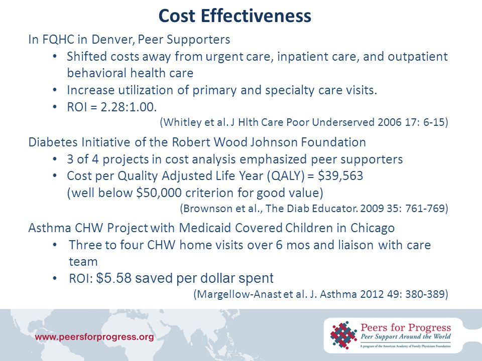In FQHC in Denver, Peer Supporters Shifted costs away from urgent care, inpatient care, and outpatient behavioral health care Increase utilization of primary and specialty care visits.
