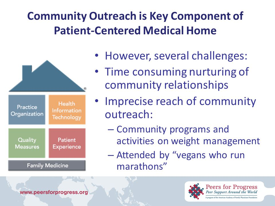 Community Outreach is Key Component of Patient-Centered Medical Home However, several challenges: Time consuming nurturing of community relationships Imprecise reach of community outreach: – Community programs and activities on weight management – Attended by vegans who run marathons