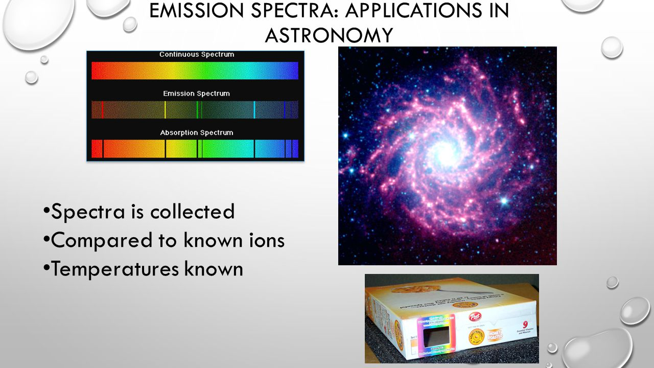 EMISSION SPECTRA: APPLICATIONS IN ASTRONOMY Spectra is collected Compared to known ions Temperatures known