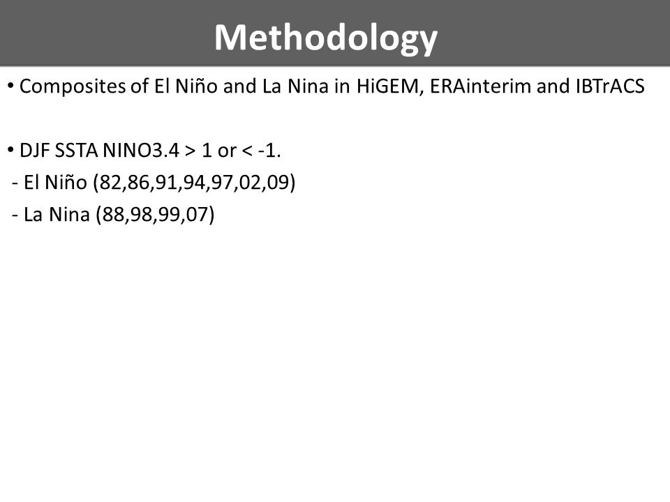 Methodology Composites of El Niño and La Nina in HiGEM, ERAinterim and IBTrACS DJF SSTA NINO3.4 > 1 or < -1.
