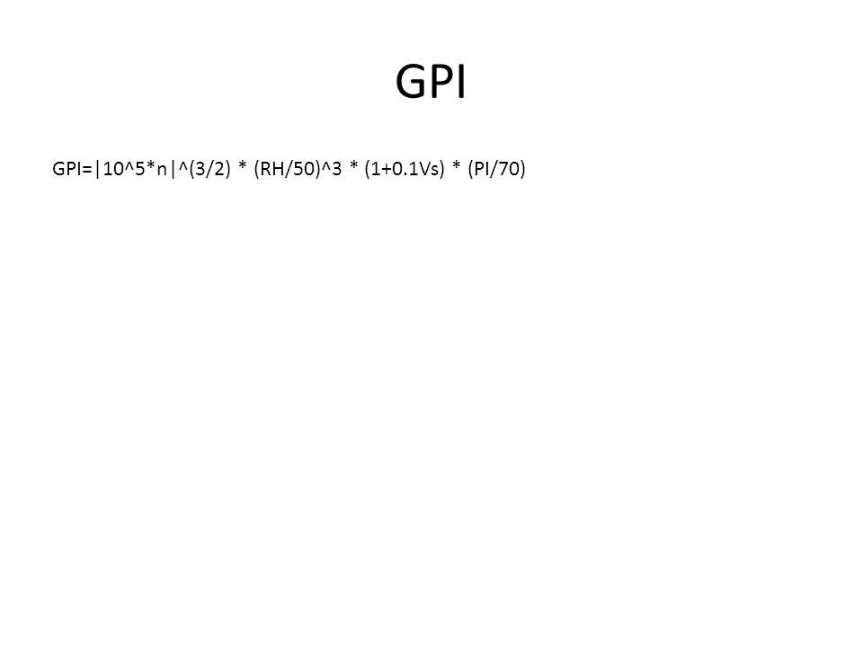GPI GPI=|10^5*n|^(3/2) * (RH/50)^3 * (1+0.1Vs) * (PI/70)
