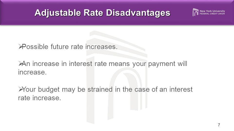 7 Adjustable Rate Disadvantages  Possible future rate increases.