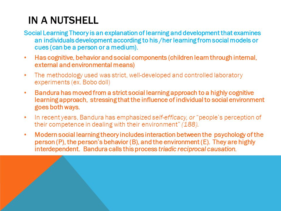 IN A NUTSHELL Social Learning Theory is an explanation of learning and development that examines an individuals development according to his /her learning from social models or cues (can be a person or a medium).