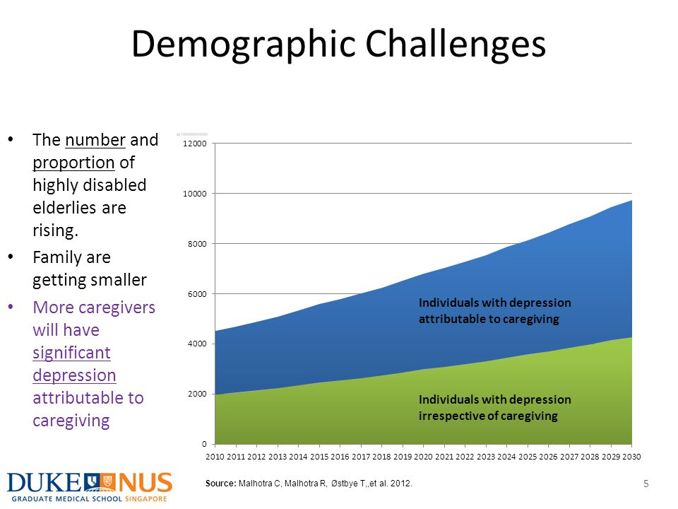 Demographic Challenges The number and proportion of highly disabled elderlies are rising. Family are getting smaller More caregivers will have signifi