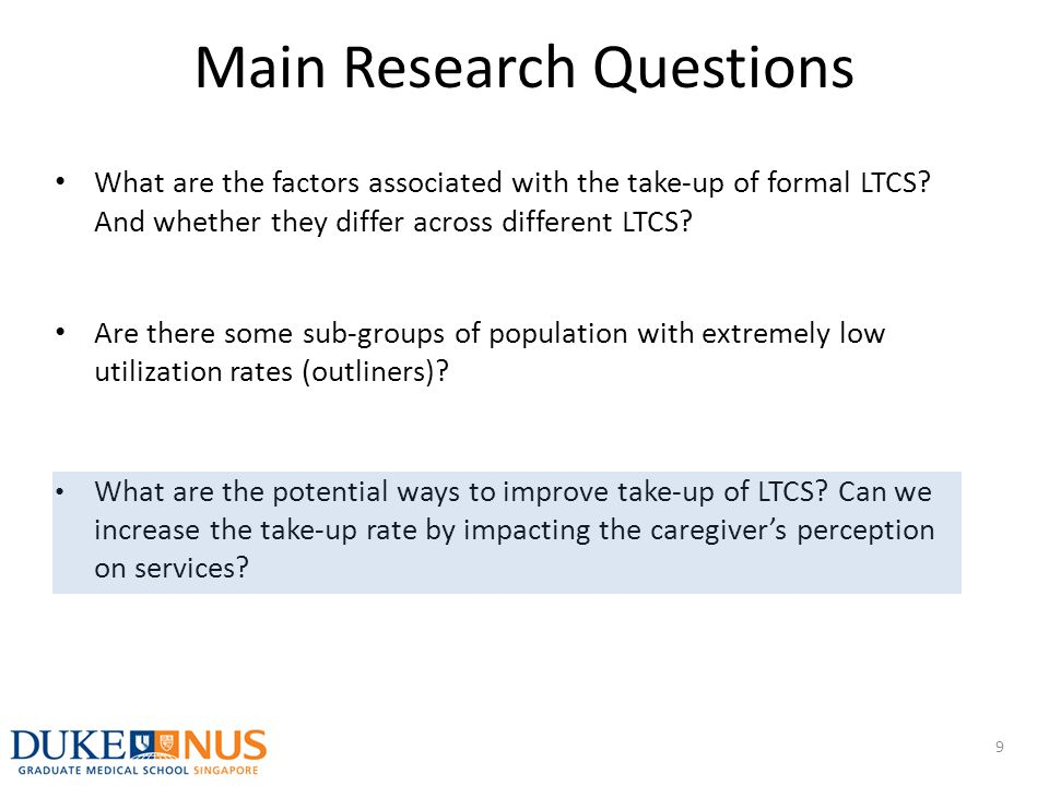 What are the factors associated with the take-up of formal LTCS? And whether they differ across different LTCS? Are there some sub-groups of populatio
