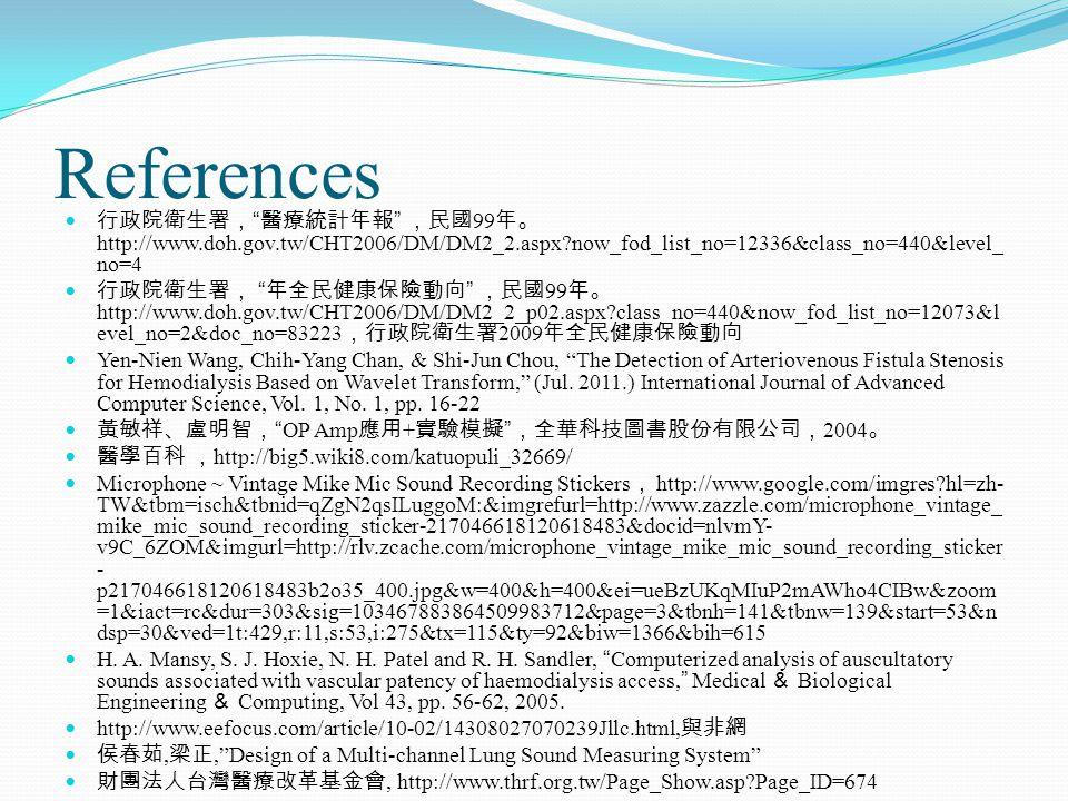 References 行政院衛生署, 醫療統計年報 ,民國 99 年。 http://www.doh.gov.tw/CHT2006/DM/DM2_2.aspx now_fod_list_no=12336&class_no=440&level_ no=4 行政院衛生署, 年全民健康保險動向 ,民國 99 年。 http://www.doh.gov.tw/CHT2006/DM/DM2_2_p02.aspx class_no=440&now_fod_list_no=12073&l evel_no=2&doc_no=83223 ,行政院衛生署 2009 年全民健康保險動向 Yen-Nien Wang, Chih-Yang Chan, & Shi-Jun Chou, The Detection of Arteriovenous Fistula Stenosis for Hemodialysis Based on Wavelet Transform, (Jul.
