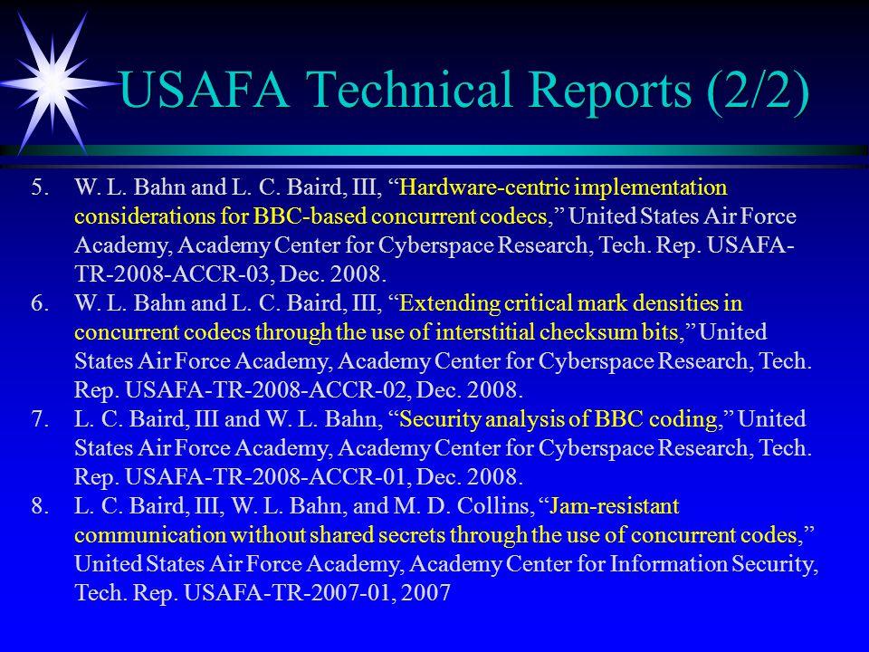 USAFA Technical Reports (2/2) 5.W. L. Bahn and L.
