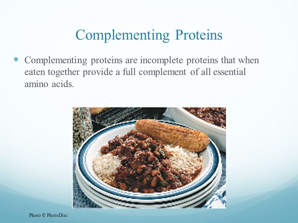 Complementing Proteins Complementing proteins are incomplete proteins that when eaten together provide a full complement of all essential amino acids.