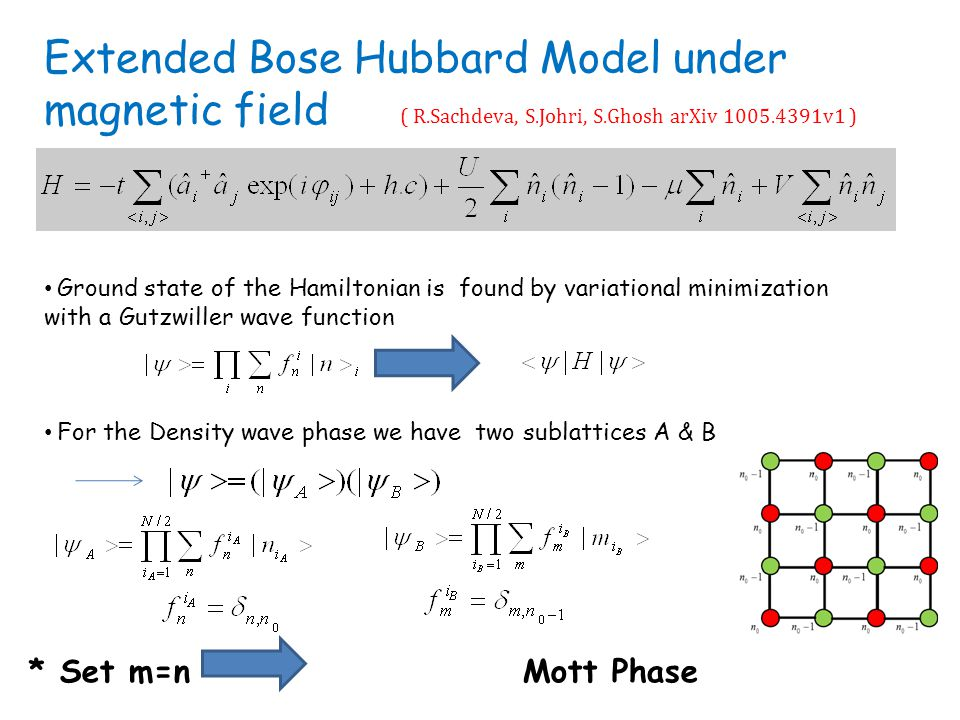 Extended Bose Hubbard Model under magnetic field Ground state of the Hamiltonian is found by variational minimization with a Gutzwiller wave function For the Density wave phase we have two sublattices A & B * Set m=n Mott Phase ( R.Sachdeva, S.Johri, S.Ghosh arXiv 1005.4391v1 )