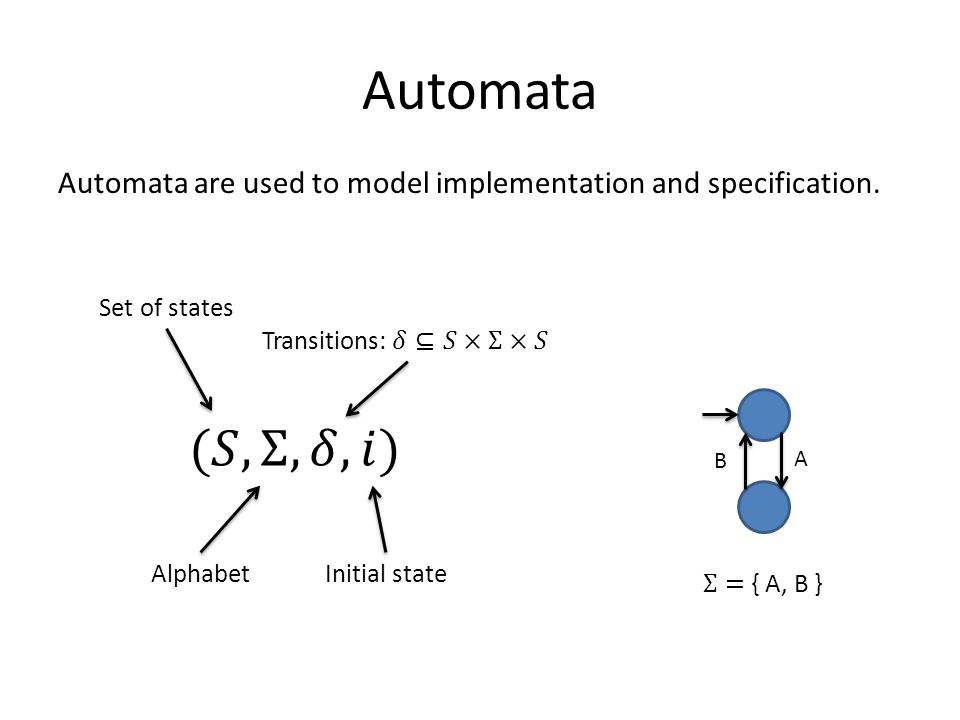 Automata Automata are used to model implementation and specification.